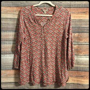 Lucky brand pattern Henley 3/4 sleeve top